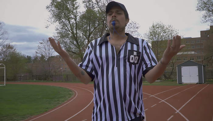 Watch Jeff Rosenstock referee a three-legged race in
